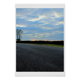 Roadway Sunset with Tree Poster