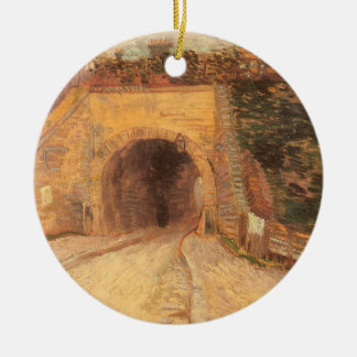 Roadway Underpass, Viaduct by Vincent van Gogh Round Ceramic Decoration