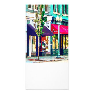 Roanoke VA Street With Restaurant Photo Card