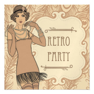 Roaring 20 s Flapper Girl Retro Party Invitations Custom Invitations
