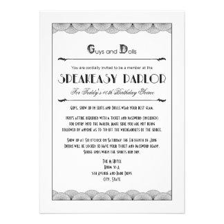 Roaring 20 s Speakeasy Theme Party Invitations