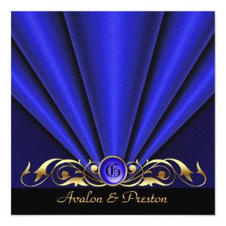 Roaring 20's Blue Art Deco Bridal Shower 13 Cm X 13 Cm Square Invitation Card