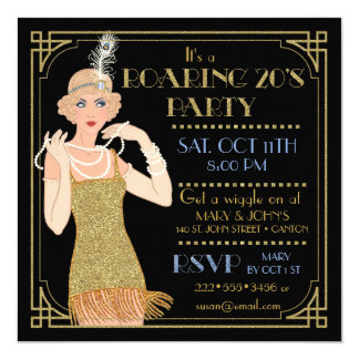 Roaring 20's Flapper Gold Glitter Black Retro 13 Cm X 13 Cm Square Invitation Card
