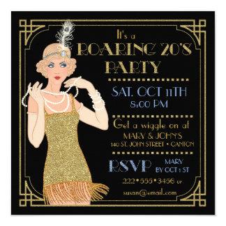 Roaring 20's Flapper Gold Glitter Black Retro 13 Cm X 13 Cm Square Invitation Card