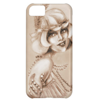 Roaring 20s girl sepia cover for iPhone 5C