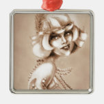 Roaring 20s girl sepia ornament