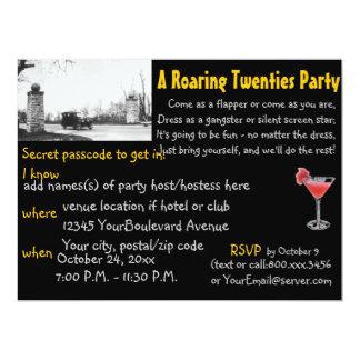 Roaring 20's ProhibitionTheme Party Black 17 Cm X 22 Cm Invitation Card