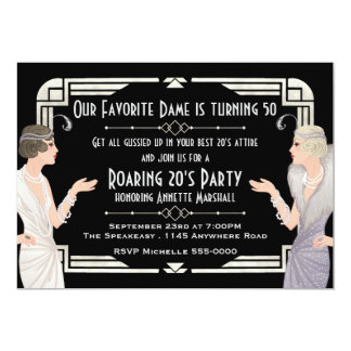 Roaring 20's Speakeasy Birthday 13 Cm X 18 Cm Invitation Card
