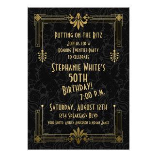 Roaring 20s Twenties Art Deco 50th Birthday Party Custom Invite