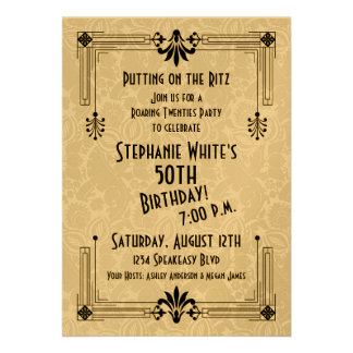 Roaring 20s Twenties Art Deco 50th Birthday Party Personalized Announcement