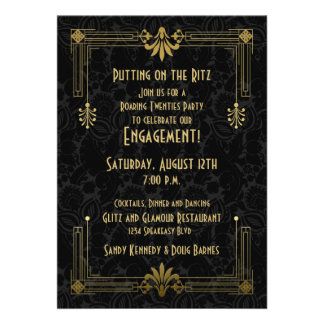 Roaring 20s Twenties Art Deco Engagement Party Card