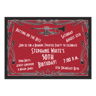 Roaring 20s Twenties Speakeasy 50th Birthday Party Personalized Announcement