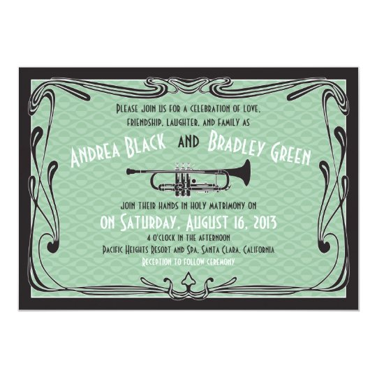 Roaring 20s Twenties Trumpet Mint Green Wedding Card