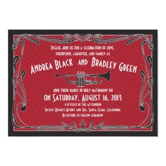 Roaring 20s Twenties Trumpet Red Wedding 13 Cm X 18 Cm Invitation Card