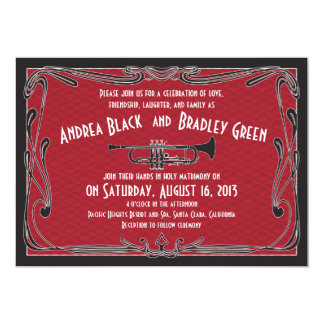Roaring 20s Twenties Trumpet Red Wedding Card