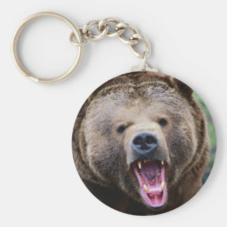 Roaring Grizzly Bear Key Ring