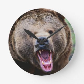 Roaring Grizzly Bear Round Clock