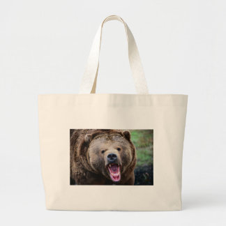 Roaring Grizzly Bear Tote Bags