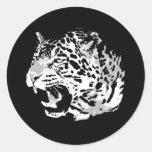 Roaring Jaguar Round Stickers