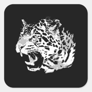 Roaring Jaguar Square Stickers