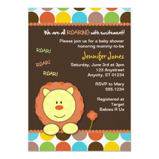 Roaring Lion Dots Baby Shower Invitation