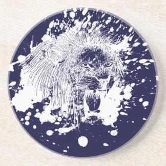 Roaring Lion in White Splash Beverage Coaster