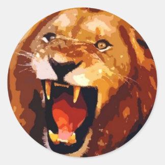 Roaring Lion Round Sticker