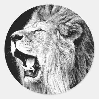 Roaring Lion Round Stickers