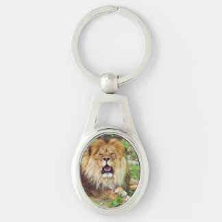 Roaring Lion Silver-Colored Oval Key Ring