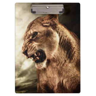 Roaring lioness against stormy sky clipboard
