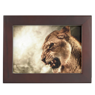 Roaring lioness against stormy sky memory box
