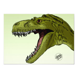 Roaring T-Rex Dinosaur by Geraldo Borges 5x7 Paper Invitation Card