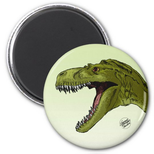 Roaring T-Rex Dinosaur by Geraldo Borges Magnet