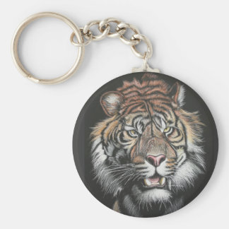 Roaring Tiger in Scratch Board Basic Round Button Key Ring