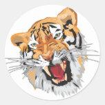 Roaring Tiger Round Sticker
