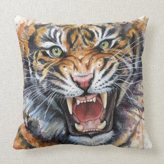 Roaring Tiger Watercolor Art Pillow Throw Cushion