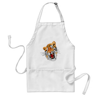 Roaring tiger with snarling sharp teeth apron
