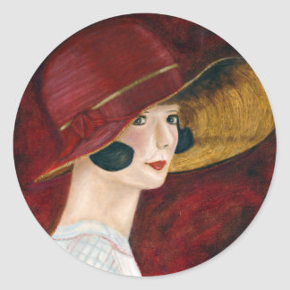 Roaring Twenties 1920s Flapper Girl in Red Hat Round Sticker