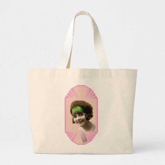 Roaring Twenties Flapper Girl Large Tote Bag