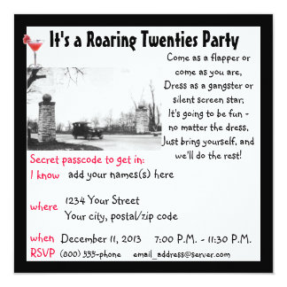 Roaring Twenties  Party 13 Cm X 13 Cm Square Invitation Card