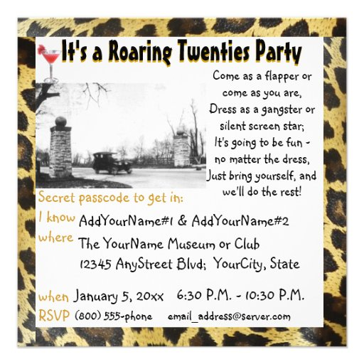 Roaring Twenties Party Flapper Leopard Personalized Invite