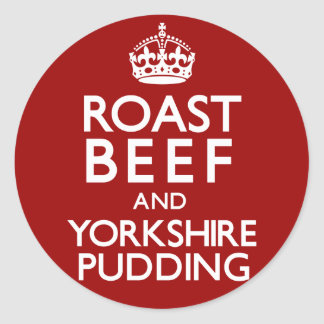 Roast Beef and Yorkshire Pudding Classic Round Sticker