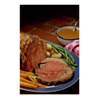 Roast beef with carrots print