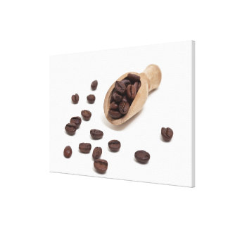 roast coffee beans with scoop canvas prints