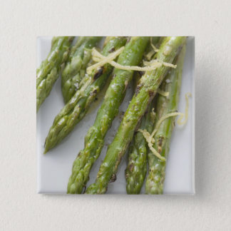 Roasted green asparagus with lemon zest, 15 cm square badge