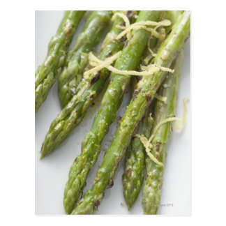 Roasted green asparagus with lemon zest, postcard