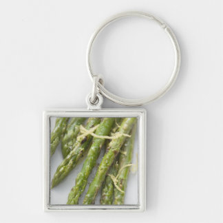 Roasted green asparagus with lemon zest, Silver-Colored square key ring