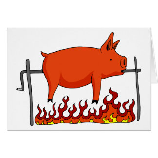 Roasted Pig on a Spit Greeting Card