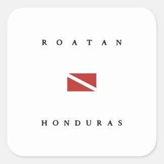 Roatan Honduras Scuba Dive Flag Square Sticker