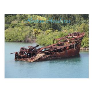 Roatan Honduras, Shipwreck Along The Coast Postcard